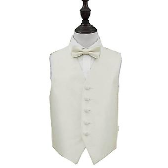 Ivory Solid Check Wedding Waistcoat & Bow Tie Set for Boys