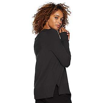 Lark & Ro Women & apos;s Long Sleeve Crewneck Side-slit سترة, أسود, متوسط