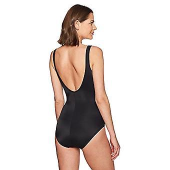 Brand - Coastal Blue Women's Control One Piece Swimsuit, Black, XS (0-2)
