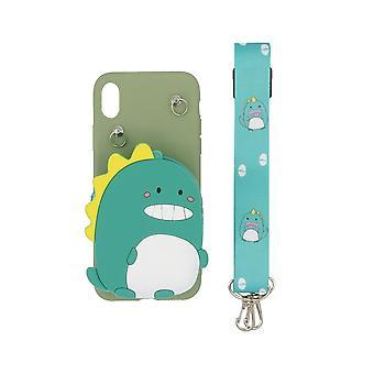 3D Mobile Hülle mit eingebauter Brieftasche für iPhone XR - Dinosaurier, grün