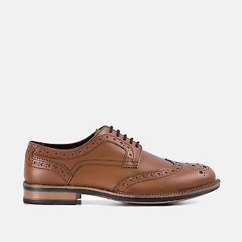 Johnson tan chunky leather derby brogue shoe