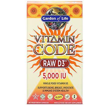 Jardín de la Vida, Código de Vitaminas, RAW D3, 5,000 UI, 60 Cápsulas Vegetarianas