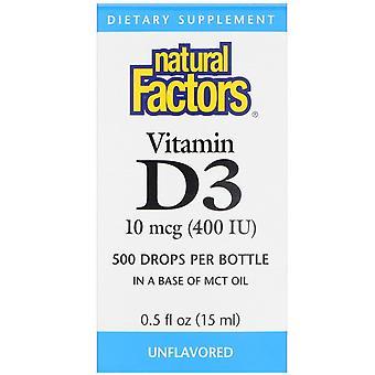 Natural Factors, Vitamin D3 Drops, Unflavored, 10 mcg (400 IU), 0.5 fl oz (15 ml