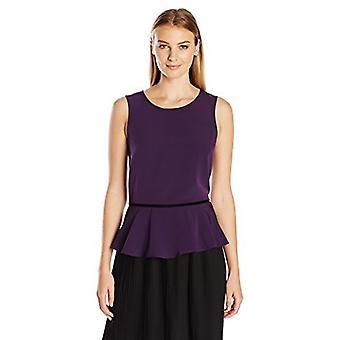 Lark & Ro Women's Sleeveless Velvet Trim Peplum Top, Pinot, X-Large