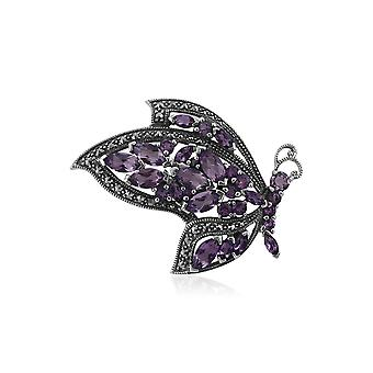 Art Nouveau Style Marquise Amethyst & Marcasite Flying Butterfly Brooch in 925 Sterling Silver 27414