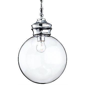 1 Licht Kugel Decke Anhänger Chrom, Klarglas, E27