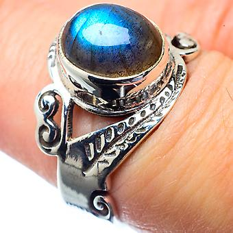 Labradorite Ring Size 7 (925 Sterling Silver)  - Handmade Boho Vintage Jewelry RING26868