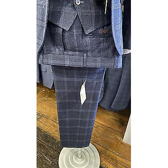 Navy With Blue Check Tweed Suit Trousers