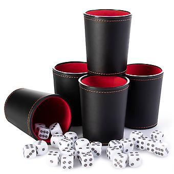 Bullseye Game Night, 25 Dice and 5 Dice Cups, Black/Red