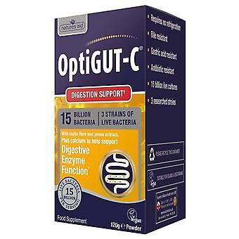 Nature's Aid OptiGUT-C (15 Miljarder bakterier) med FOS & Magnesium 120g (143800)