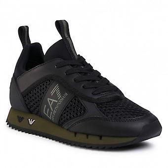 EA7 Emporio Armani Black/Green Mesh Running Style Trainers X8X027 XK050