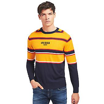 Guess Yarn Striped Sweater - Navy / Orange