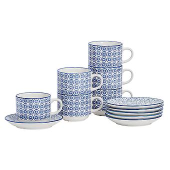 Nicola Spring 24 Piece Hand-Printed Stacking Teacup and Saucer Set - Japanese Style Porcelain Coffee Cups - Navy - 260ml