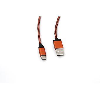 USB-C töltőkábel 1,8 m nylon - Narancs