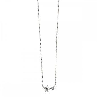 Beginnings Sterling Silver N4103C Clear Cz Double Star Necklace