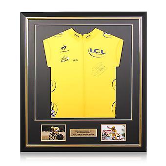 Bradley Wiggins Signed Tour De France 2012 Jersey. Deluxe Frame