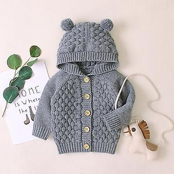 Newborn Baby Rabbit Ears Sweater Winter Jacket Warm Coat, Hooded Long Sleeve