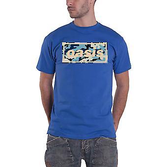Oasis T Shirt Camo Band Logo new Official Mens Royal Blue