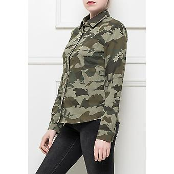 Camouflage Stretch Shirt Blouse