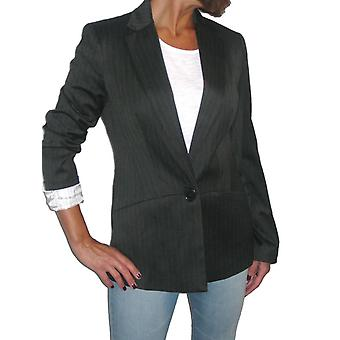 Femmes's Smart Work Blazer Ladies Formal Evening One Button Long Sleeve Fully Lined Tailored Pinstripe Suit Jacket Black 8-12