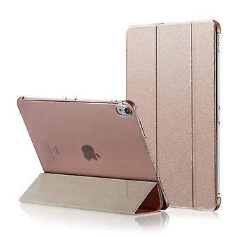 Silk Texture Horizontal Flip  Magnetic PU Leather Case for iPad Pro 12.9 inch (2018), with Three-folding Holder & Sleep / Wake-up Function(Rose Gold)