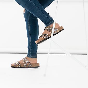Birkenstock Sydney 1016894 (reg) Ladies Two Strap Sandals Python Brown
