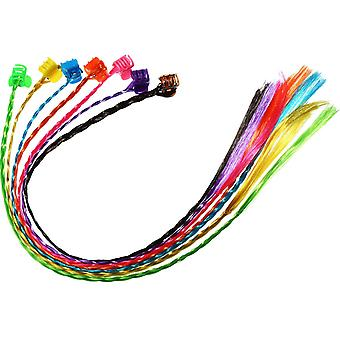Bememo 21 pieces nylon braided hair neon hair braid extensions attachments with neon clip snaps for