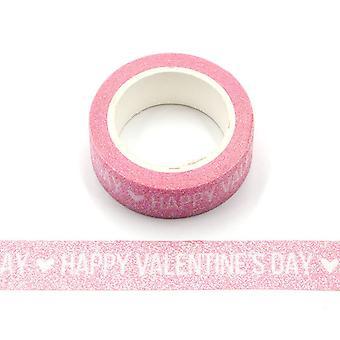 عيد الحب سعيد بريق التألق الوردي Washi الشريط 15mm × 3m