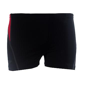 Speedo Side Print Junior Kids Nuoto Aquashort Swimshort Short Nero/Rosso