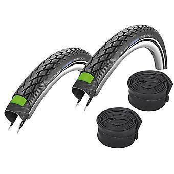 "Velo.Set 2 x Schwalbe Marathon Bicycle Tires = 32-622 (28×1.25"") + Hoses"
