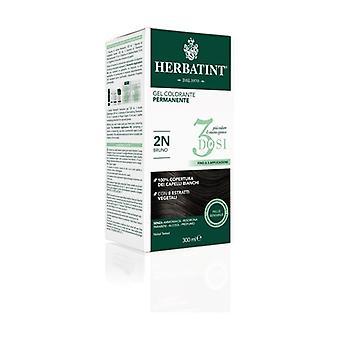 Permanent färg gel hår färg 3 doser 2N brun 300 ml