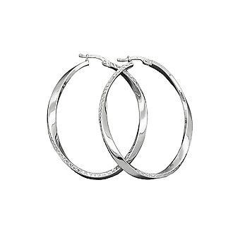 Hoop Øreringe Oval Form Sølv 925