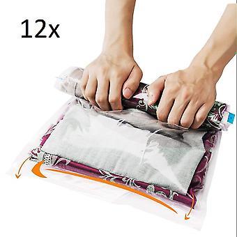 12 Reise oppbevaringspose vaskepose for reise og oppbevaringspose for klær teppe håndklær ingen pumpe nødvendig