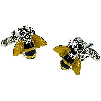 Bee Cufflinks Onyx Art - Gift Boxed Keeper Bumble Wasp Flying Insect Cuff Links