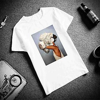 New Cotton Harajuku Aesthetics Sexy Flowers Feather Print Short Sleeve T-shirt