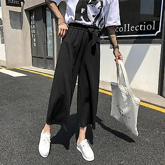 Mujeres Casual Pantalón de pierna ancha suelta, pantalones de estilo preppy, Palazzo de color puro