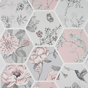 Chinoise Decoupage Tapeta Różowy Arthouse 908904