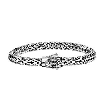 Sterling Silver With Rhodium Finish Dome Woven Mens Bracelet, 8.25""