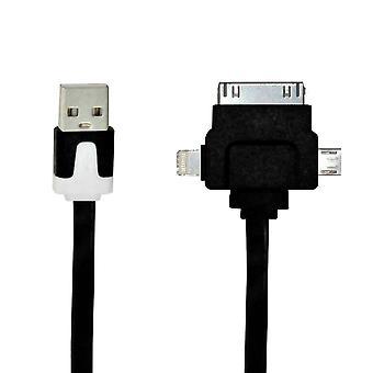 USB-kabel for smarttelefon og nettbrett 3 i 1