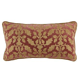 Rectangular Fabric Pillow With Embroidered Floral Pattern, Red And Beige