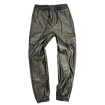 Mens PU Leather Cargo Optic Jogger Pants Coated Biker Elastic Waistband Trousers