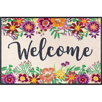 lavado + felpudo de bienvenida blooming 50 x 75 cm alfombra de tierra lavable