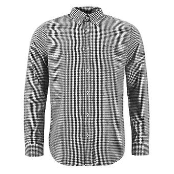 Ben Sherman Mens Checkered Shirt Long Sleeve Plaid Top Black White 0062086 BLK