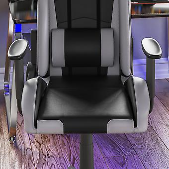 Nitro Racing Gaming Home Office Faux Leather Chair, Grey & Black