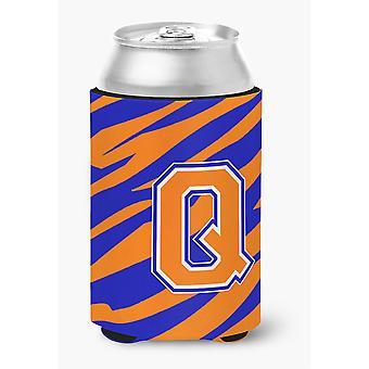 Buchstabe Q anfängliche Monogramm Tiger Streifen Blau Orange Dose oder Flasche Getränk Isolator Hugger