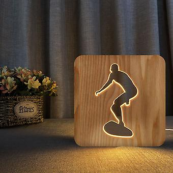 Led wooden carving night light usb power surfing pattern t2383w