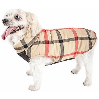 Haustier Leben 'Allegiance' klassische karierte isolierte Hund Mantel Jacke, weiß und rot kariert - X-Large