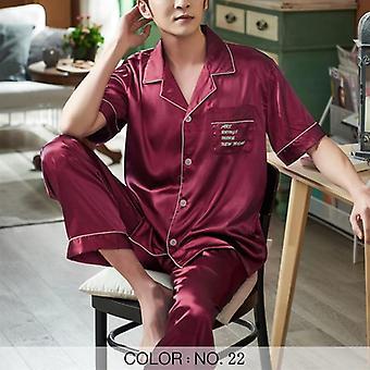 Männer Pyjamas Sets, Satin Sleepwear, Nachtwäsche, gestreift gedruckt, lässige Frühling,