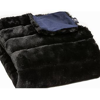 Premier Luksus Onyx Stribe Faux Fur Throw Blanket