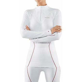 Falke Maximum Warm Tight Fit Langarm Reißverschluss Shirt - weiß/rot